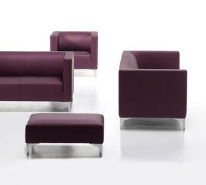 Argo Light 02, Gepolstertes Sofa für Büro, verchromte Stahlfüße