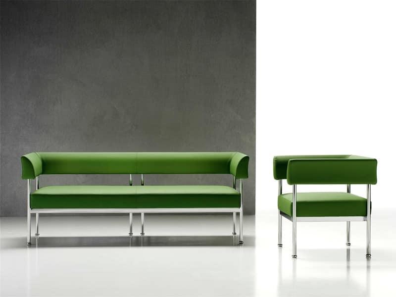 Jive 3p, 3-Sitzer-Sofa, Gestell aus verchromtem Stahl, für das Büro