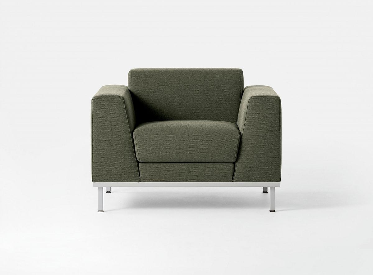 Komodo, Polster modernes Sofa, mit Stahlunterseite, zum Empfang