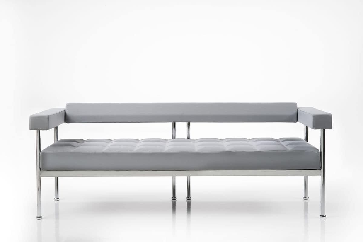 Qubiq 3p, 3-Sitzer-Sofa für Bereiche, sichtbare Struktur warten