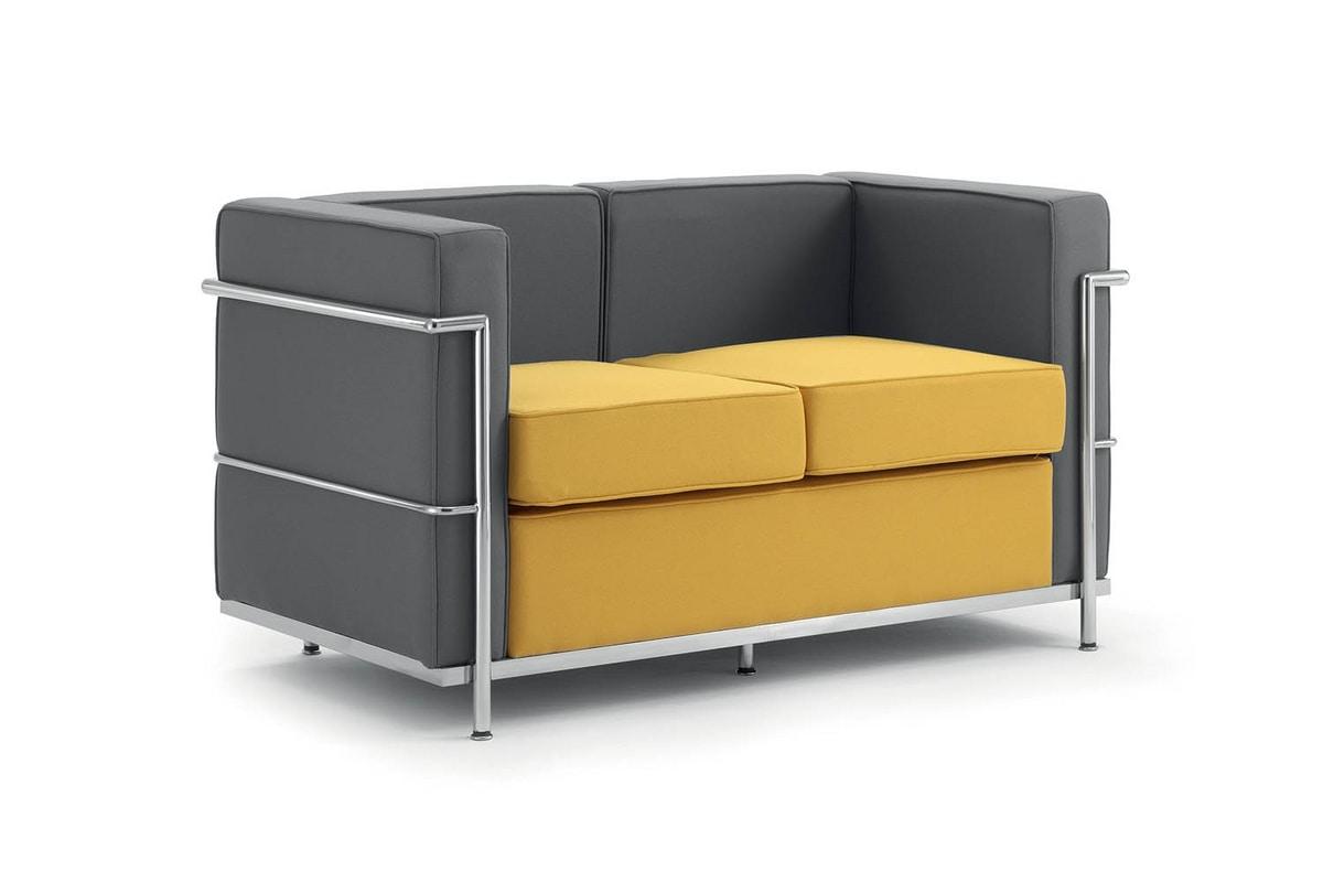UF 161 - Replica, 2-Sitzer-Sofa, Metallrahmen, gepolstert, für Empfänge
