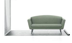Wing 02, 2-sitziges Sofa, bezogen mit Polyurethan, Stahlbasis