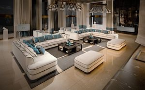 2016-46 Sofa, Modulares Sofa aus Nubukleder