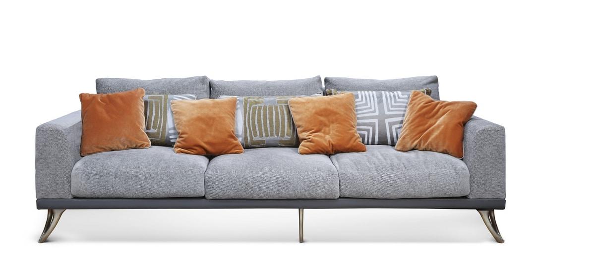 ARES Sofa GEA Collection, Sofa mit Chaiselongue in Leder bezogen