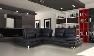 Camaleon, Sofa aus echtem Leder mit Chaiselongue gemacht, modular
