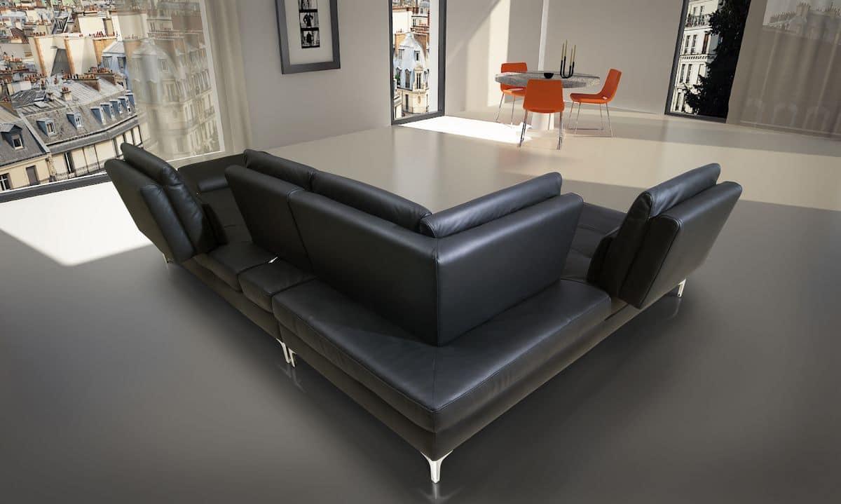 sofa aus echtem leder mit chaiselongue gemacht modular. Black Bedroom Furniture Sets. Home Design Ideas