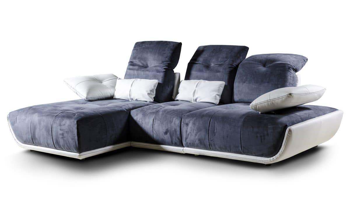 sofa mit chaiselongue neigungsverstellbare r ckenlehne idfdesign. Black Bedroom Furniture Sets. Home Design Ideas
