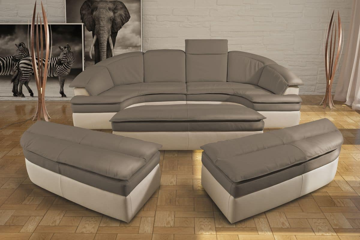 Galaxy, Modulares Sofa Aus Leder, Bicolor