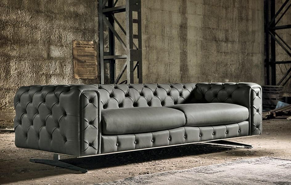 3 sitzer sofa gesteppt leder chesterfield idfdesign. Black Bedroom Furniture Sets. Home Design Ideas