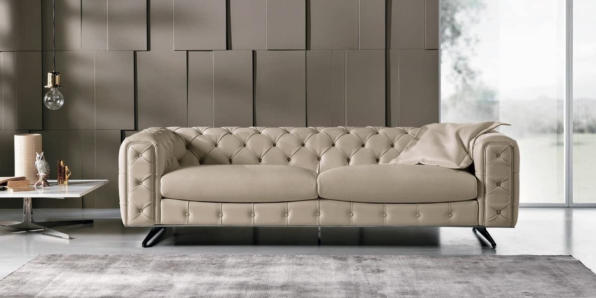 3 Sitzer Sofa Gesteppt Leder Chesterfield Idfdesign