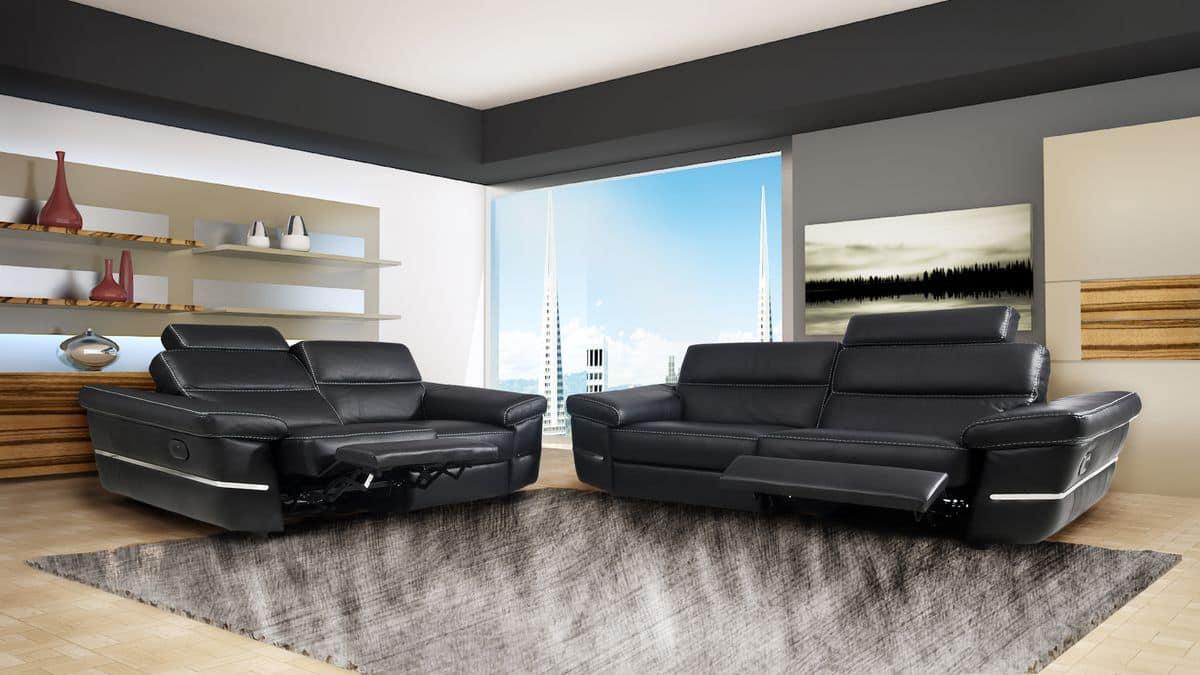 Sofa aus echtem leder mit gepolsterten kopfst tze gemacht for De piccoli design srl