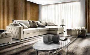 Manfredi, Sofa mit Tufting-Dekoration an den Seiten