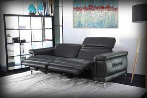 Portland, 2-Sitzer-Sofa aus schwarzem Leder