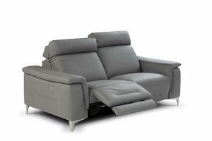 Salento, 2-Sitzer-Sofa aus grauem Leder
