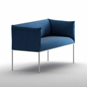 Sharp SO, Kleines Sofa, gepolstert, mit Stahlstruktur, für den Objektbereich