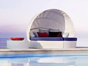 Arena rundes Sofa w/capote, Round Sofa, handgemachtes gesponnenes, für Strand- und Freibäder