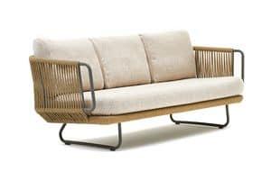 Babylon Sofa 3p, Sofa 3 Plätze in Aluminium und Synthetik Seil, für externe