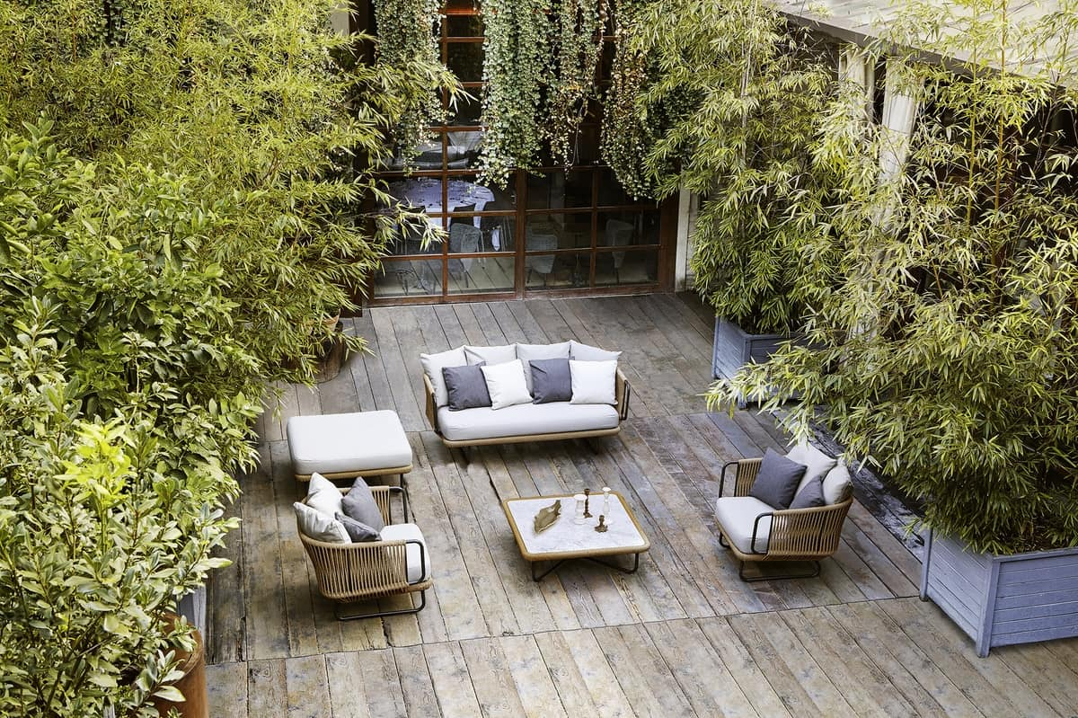 Babylon Sofa, Elegantes Sofa, in Aluminium und Seil, für den Außenbereich