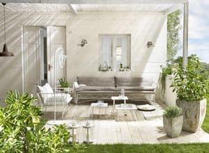 Bahamas Sofa, Außen-Sofa, unedlen Metallen, in Leinen bedeckt