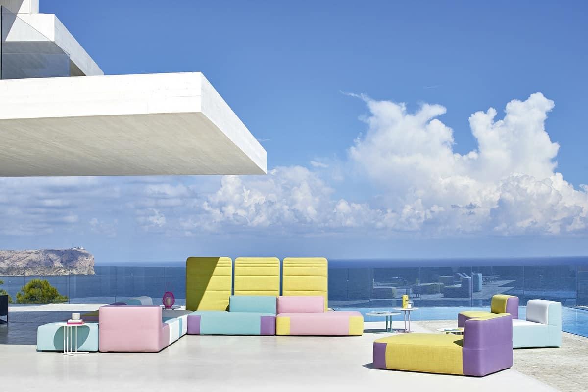 Belt Modulares Sofa, Modulares Sofa Gepolstert, In Okumè Holz Für Den  Außenbereich