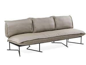 Colorado divano 3P, Großes Sofa für den Außenbereich, Stahlgestell, mit bequemen Kissen
