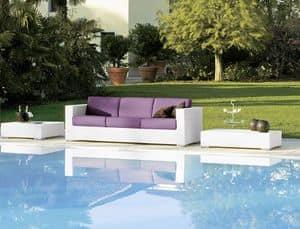 Cora Sofa 3p, Gewebte 3-Sitzer, für die Strandbar und Aufenthaltsräume