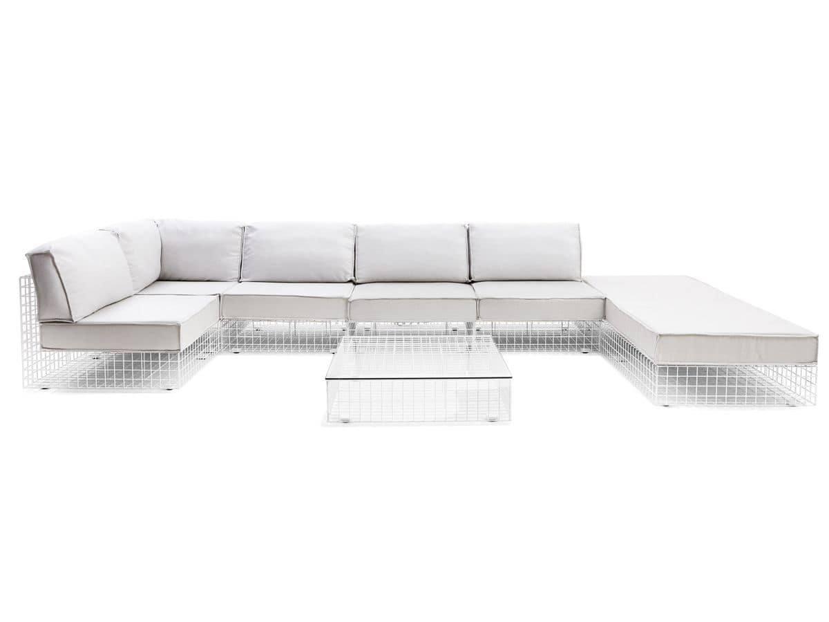modulares sofa f r den au enbereich aus lackiertem stahl idfdesign. Black Bedroom Furniture Sets. Home Design Ideas