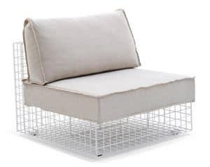 Grid Sessel, Sessel in Stahlstange, modular, für den Außeneinsatz