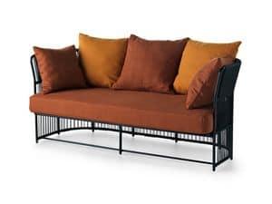 Tibidabo niedrigen Sofa, Sofa in Metall, gewebt, mit Kissen, für den Außenbereich