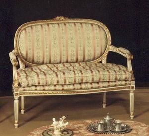 130 SOFA, 2-Sitzer-Sofa, Massivholz, mit Blattgold-Dekorationen