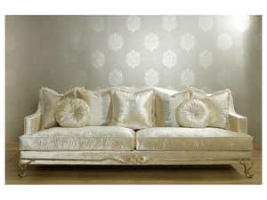 ARGO Sofa 8544L, Gepolstertes Sofa, Buche und Pappel Struktur, Wohnnutzung