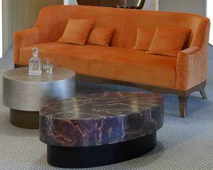 Art. 21360, Sofa mit orangefarbenem Samtbezug
