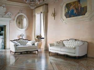 CHARME Sofa 8414L, Sofa im klassischen Stil, gesteppt, mit bequemen Kissen