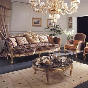 Delizia Sofa, Klassisches Sofa mit handgemachten Schnitzereien