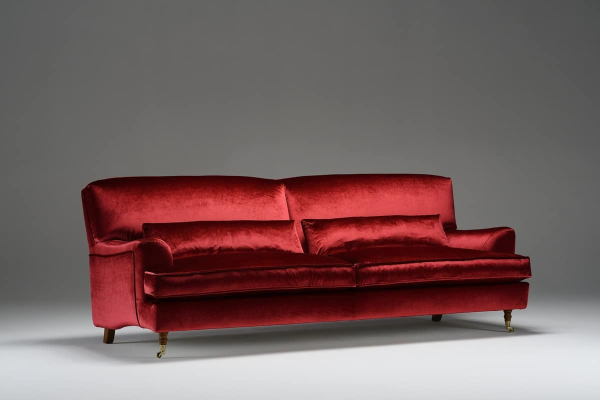 Didone, Sofa in rotem Samt, im klassischen Stil