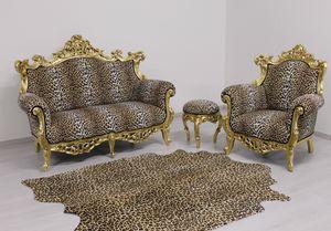 Finlandia Animalier 2-Sitzer, Neues barockes Sofa in Samt gepolstert