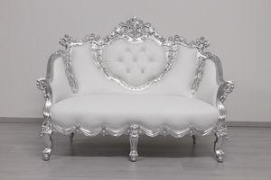 Gonzaga, Zweisitzer-Sofa aus weißem Leder