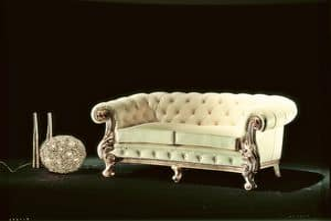 Manchester Leather Sofa, Sofa Luxus klassisch, mit gesteppter Polsterung