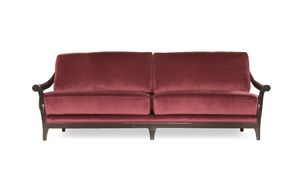Marlon-Sofa, Holzsofa mit Stoff bezogen