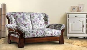 New Jersey Sofa, Ledersofa aus Massivholz