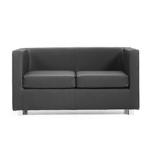 Quadra 2 3 PL, Holz Sofa in Leder bezogen, verschiedene Farben, für Büros