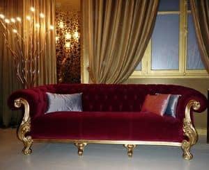 Queen klassischen Stoff, Luxuriöses Sofa, made in Italy