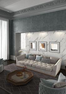 Renaissance Sofa, Gepolstertes Sofa capitonnè mit Holzsockel
