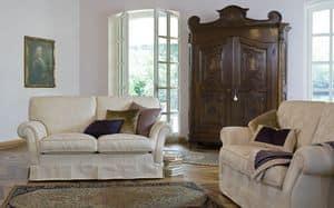 Silvio, Modernes klassisches Sofa mit Stoffbezug