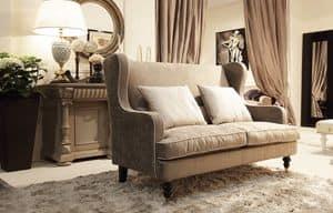Venere Sofa, Kleines Sofa für klassische Zimmer, verfügbar mit Rüschen
