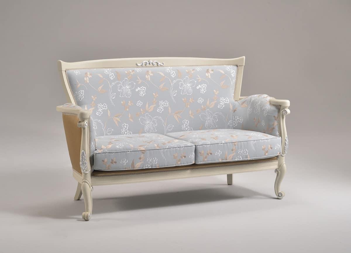 VENEZIA sofà 8294L, Sofa mit Veredelungen in Blattsilber, klassischen Stil