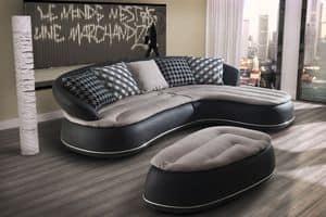 Wes, Leder-Sofa mit Chaiselongue, runden Formen