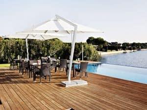 Copacabana, Sonnenschirm Quadrat, in Aluminium und Stahl, für Garten und Bar