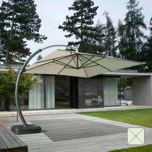 Große Aluminium-Arm Garten Regenschirm Copenaghen - CO350POL, Sonnenschirm quadratisch, stark und langlebig