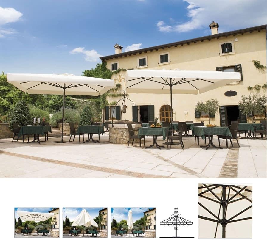 Napoli telescopic, Sonnenschirm für Garten mit Teleskopsystem
